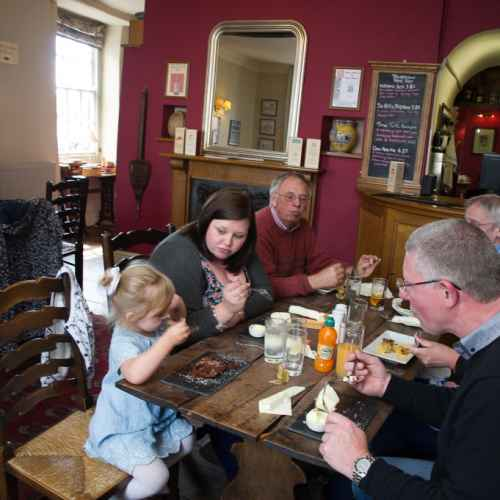 Families eating in the bars in Bishops Castle