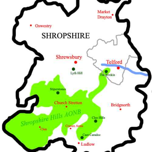 Shropshire Hills Area of Outstanding Natural Beauty (AONB) Map